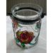 grote pot  met Rozen/glasverf in lood