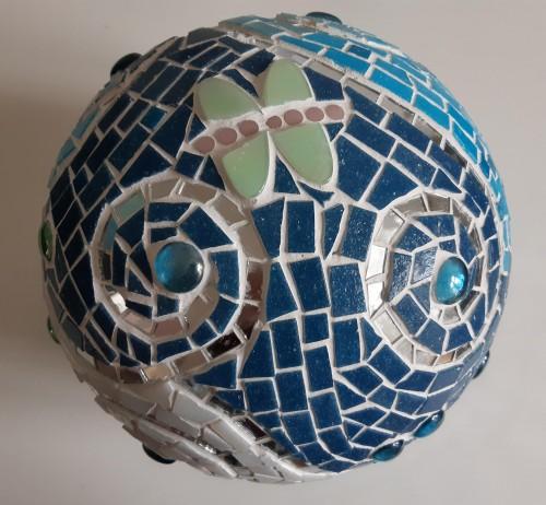 Mozaïektuinbol blauw